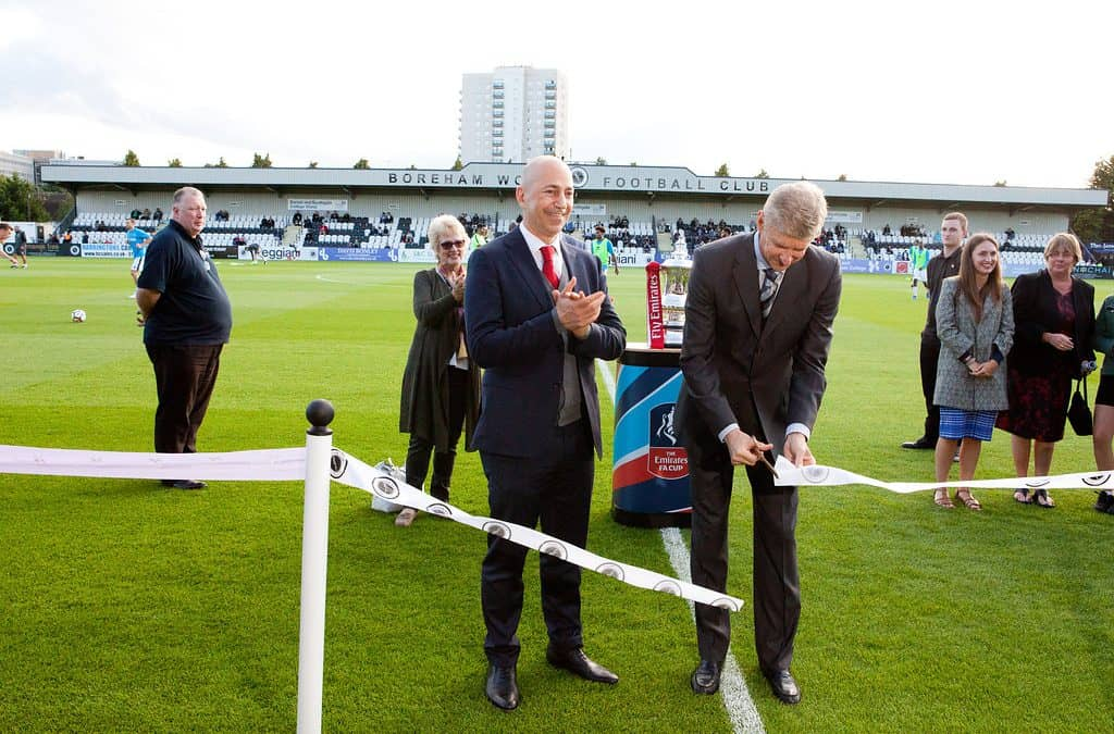 ARSENE WENGER OBE AND IVAN GAZIDIS UNVEIL BOREHAM WOOD'S STADIUM UPGRADES