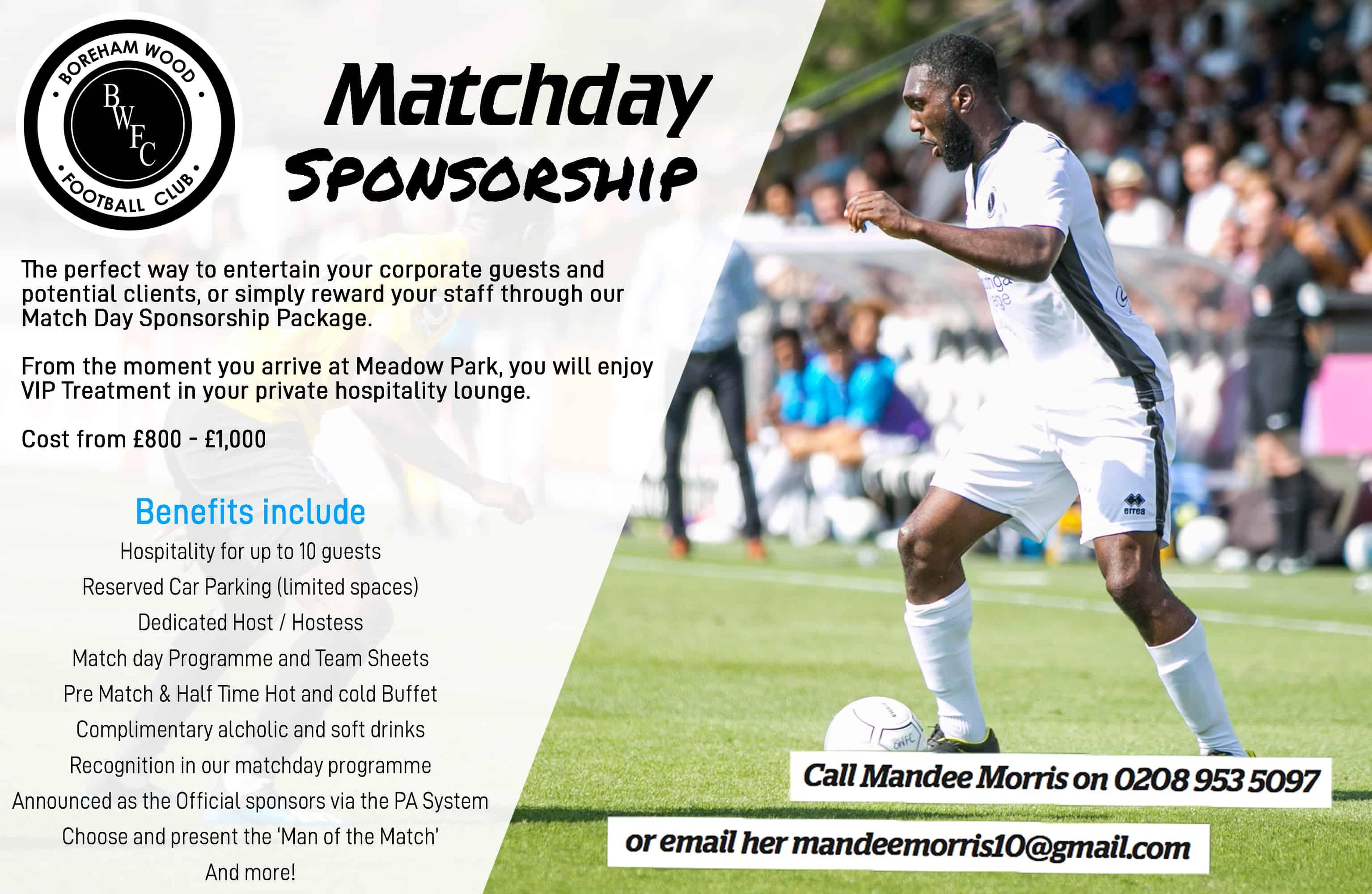 Match Sponsorship | Boreham Wood Football Club