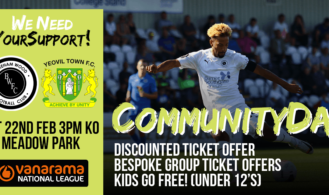WE NEED YOUR SUPPORT AGAINST YEOVIL TOWN – TICKET OFFERS!
