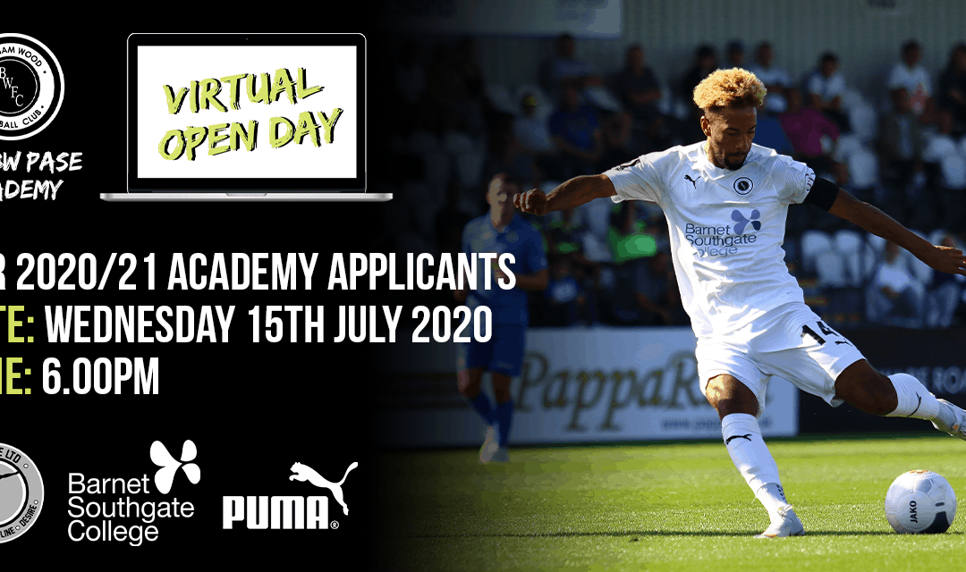 ACADEMY VIRTUAL OPEN DAY – WEDS 15TH JULY 6PM