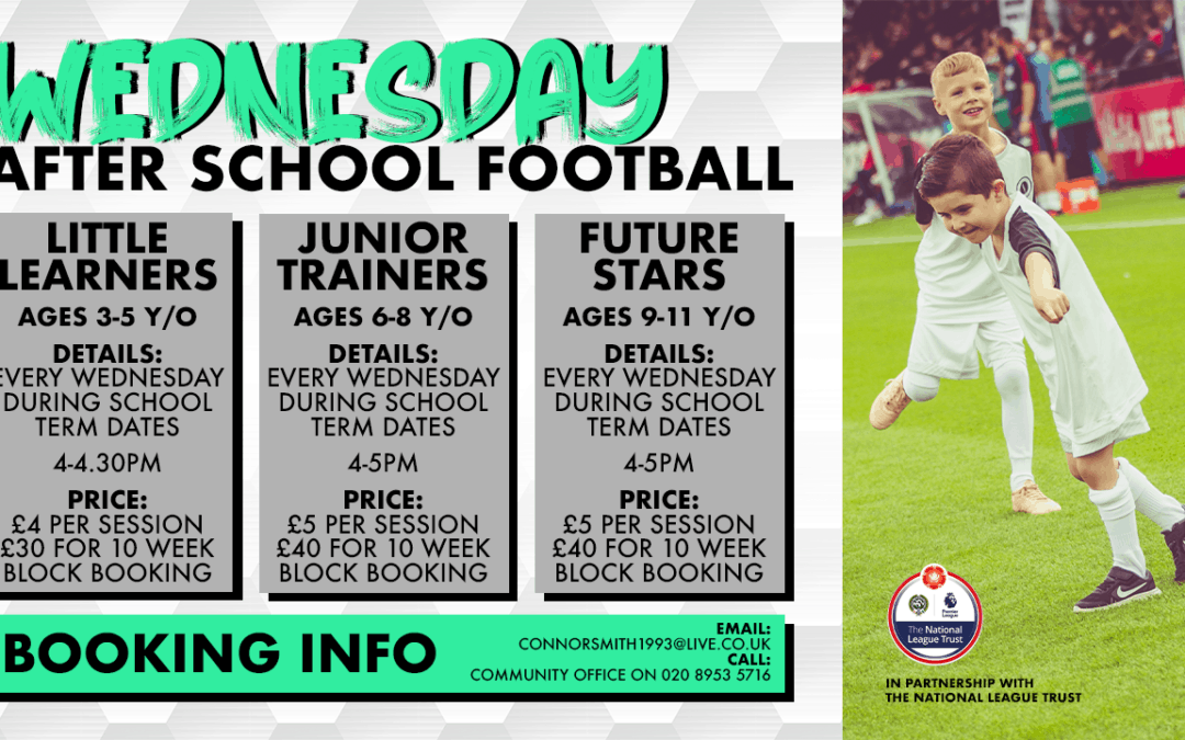 COMMUNITY FOOTBALL RESTARTS THIS WEDNESDAY WITH FREE TASTER SESSION