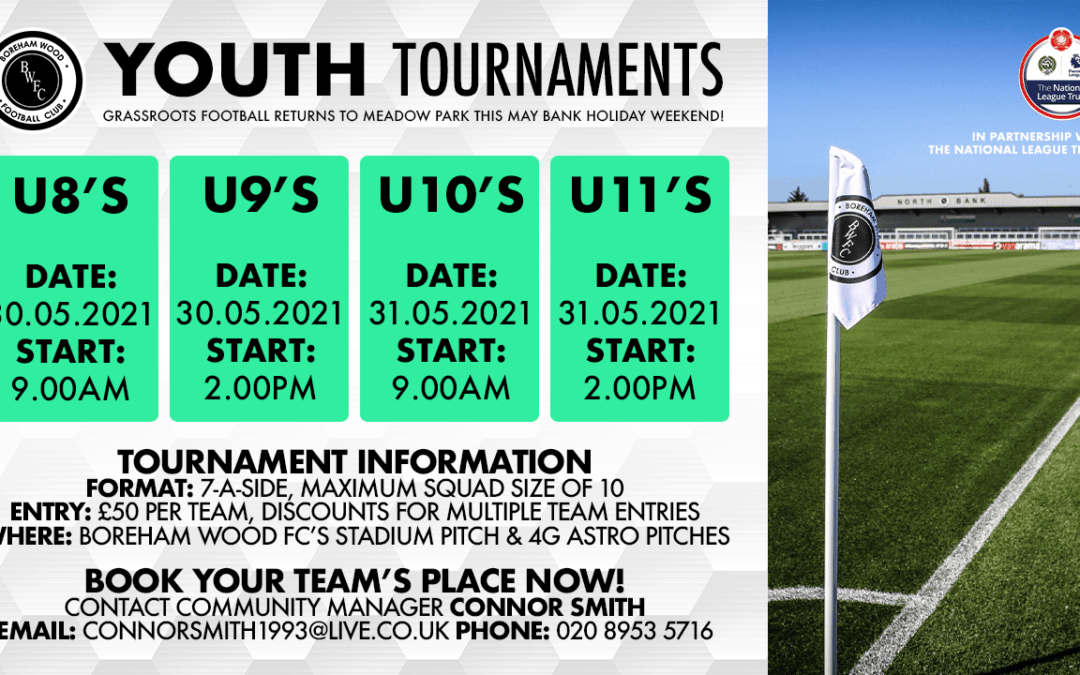 GRASSROOTS FOOTBALL RETURNS TO MEADOW PARK THIS MAY WITH OUR ANNUAL YOUTH TOURNAMENTS