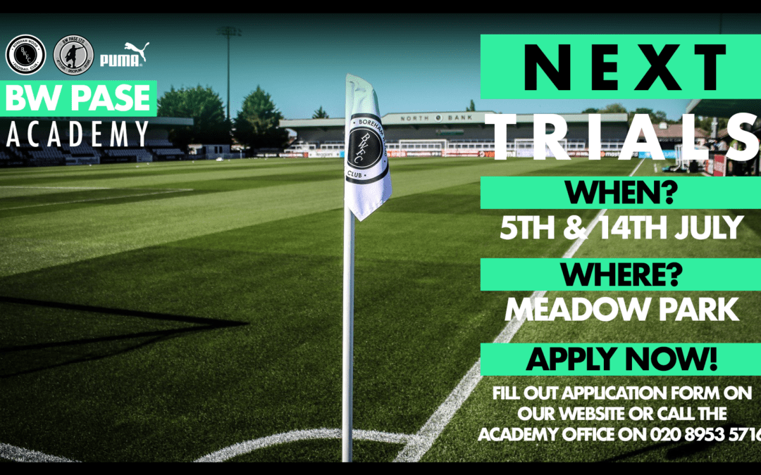 BW PASE ACADEMY ANNOUNCE JUNE & JULY TRIAL DATES